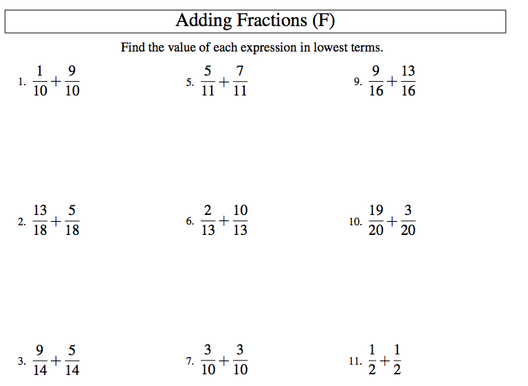 ... : 10.1 - Adding and Subtracting Fractions with Like Denominators