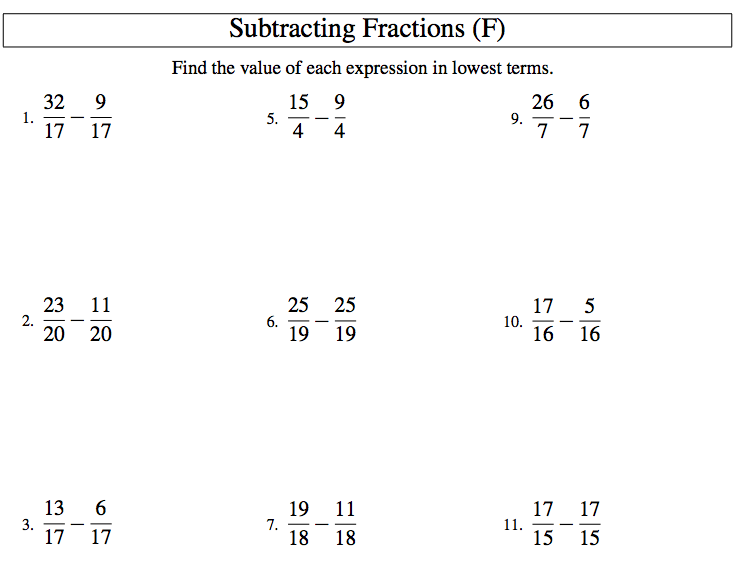 add subtract fractions worksheet – Fraction Subtraction Worksheets